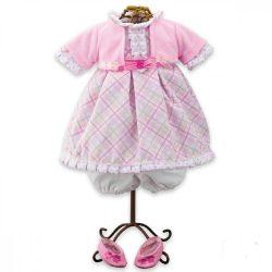 Kellékek babázáshoz - Rózsaszín - fehér, kockás babaruha és babacipő játékbabáknak
