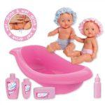 Műanyag babák - Barbie babák - Loko ikerbabák fürdőkáddal tisztálkodószerekkel és cumisüveggel