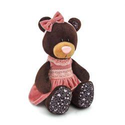 Plüss állatok - Plüss macik - Plüss Milk a maci ülő pink bársony ruhában 25cm Orange Toys