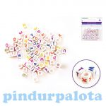 Fűzős játékok gyerekeknek - Gyöngyök - Betű gyöngy kocka fehér 68 db