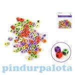 Fűzős játékok gyerekeknek - Gyöngyök - Betű gyöngy kocka színes 68db