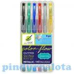 Írószerek - Zselés glitteres tollkészlet 6db metál színek