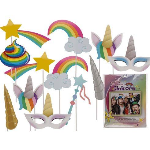 Ajándék haveroknak - Trendi cuccok - Unikornis party kiegészítő 12db móka fotózáshoz