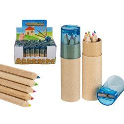 Írószerek - Mini színes ceruza 5 db-os, hegyezővel