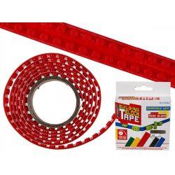 Kütyübazár - Rugalmas piros építőkocka szalag, 125 cm Legohoz