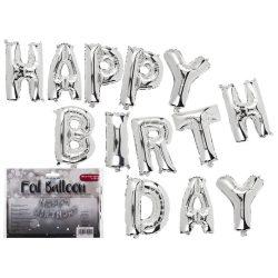 Party kellékek - Fólia lufi, Happy Birthday, 40cm
