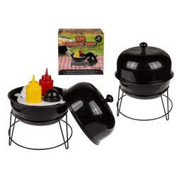 Party kiegészítők - Fűszertartó grillezéshez sótartóval borsszóróval, mustár és ketchup palackkal