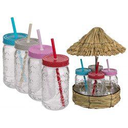 Party kiegészítő - 470 ml Party poharak fém fedővel, szívószállal szalma házzal tálcán