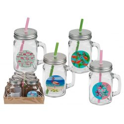 Ajándék a haveroknak - Trendi cuccok - Flamingós 500 ml-es Üveg pohár metál fedővel szívószállal
