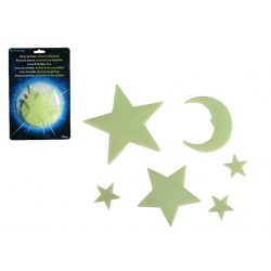 Dekoráció - Fluoreszkáló Hold és csillagok éjszakai szobadísz