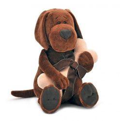 Plüss kutyák - Plüss Cookie a kutya csonttal Orange Toys doboz házzal