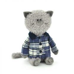 Plüss cicák - Plüss macska Buddy jacket-ben 30cm