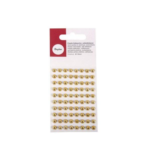 Kézműves kellékek - Műanyag félgömbgyöngy arany 5mm 80db