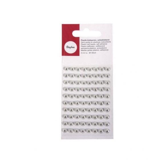 Kézműves kellékek - Műanyag félgömbgyöngy ezüst 5mm 80db