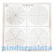 Quilling papírcsík technológia eszközök - Quilling parafatábla 4 db sablonnal, 30 x 30 cm