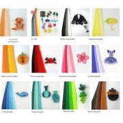 Quilling papírcsíkok - Quilling eszközök - Quilling színárnyalatos papírcsíkok MultiColor 100db 10mm