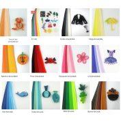 Quilling papírcsíkok - Quilling eszközök - Quilling színárnyalatos papírcsíkok MultiColor 100db 3mm