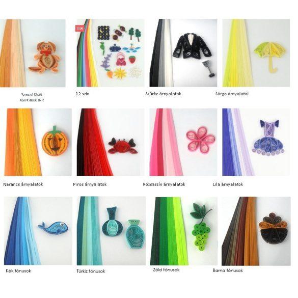 Quilling papírcsíkok - Quilling eszközök - Quilling színárnyalatos papírcsíkok MultiColor 100db 5mm