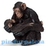 Vadállat figurák - Nőstény csimpánz csimpánzkölyökkel Schleich