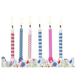 Szülinapi torta gyertyák - Szülinapi gyertya, rózsaszín-kék, pöttyös-csíkos