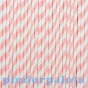 Party kellék - Szívószál papír rózsaszín