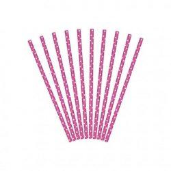 Party kellék - Szívószál papír pink-fehér pöttyös