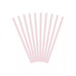 Party kellék - Szívószál papír rózsaszín-fehér pöttyös
