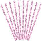 Party kiegészítők - Szívószál papír 19,5 cm pink S/10