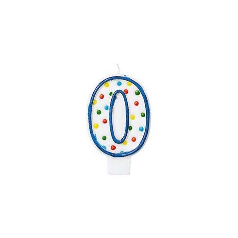 Party kellékek - Szülinapi torta gyertyák - Pöttyös, Szülinapi 0-ás Számgyertya