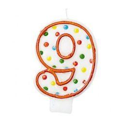 Party kellékek - Szülinapi torta gyertyák - Pöttyös, Szülinapi 9-es Számgyertya