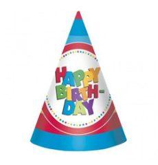 Party kellékek - Happy Birthday parti kalap - 8 db-os