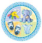 Party kellékek - Evés-ivás - Babaváró bébi tányér fiú