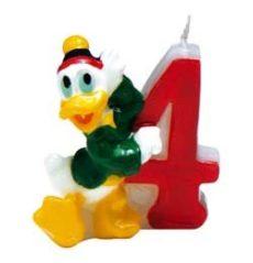 Party kellékek- Donald kacsa 4-es Szülinapi számgyertya 5cm