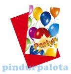 Party kellékek és dekorációk - Szülinapi meghívó és boríték