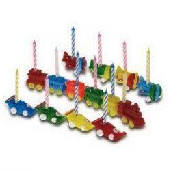 Party kellékek - Gyertyák - Színes gyertyák műanyag játékokon