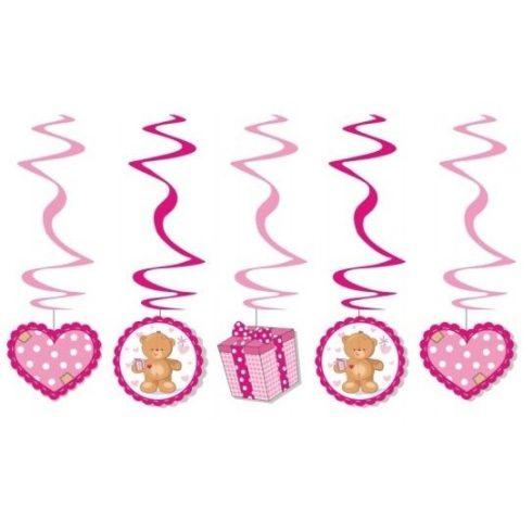 Party kellékek és dekorációk - Rózsaszín macis függőspirál