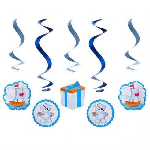 Party kellékek - Party dekorációk - Kék macis függő dekoráció
