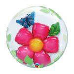 Party kellékek - Virágos, szülinapi héliumos lufi
