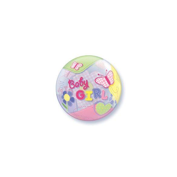 Party kellékek - Bubbles pillangós babaváró lufi