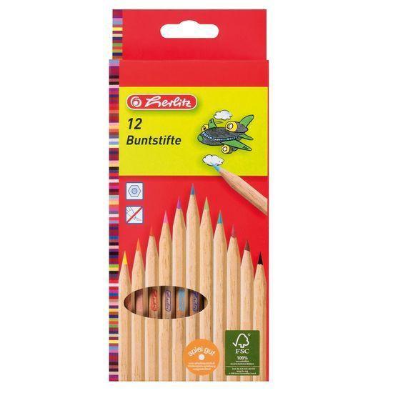 Herlitz Színes ceruza 12db natúrfa