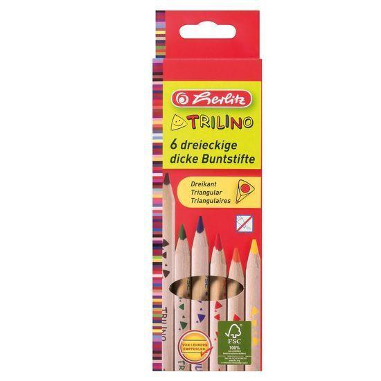 Herlitz Színes ceruza/6 vastag natúr Trilin
