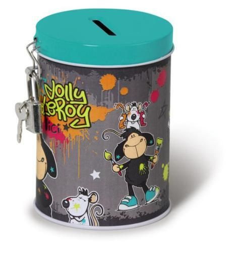 Happy Box Nici Persely Leroy&Rat JM23 fém 7,5x10,5cm fekete-multicolor